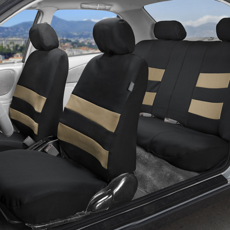 beige cloth seat cover