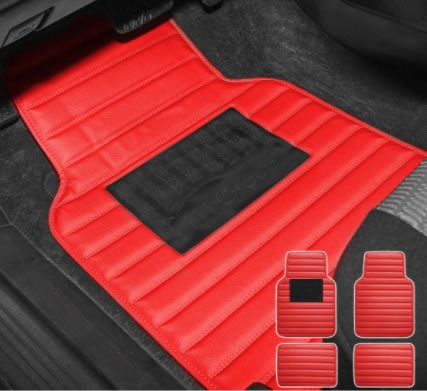 Universal Liners Heavy Duty Faux Leather Car Floor Mats Anti-Slip Backing red
