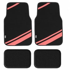 Carpet Liners Car Floor Mats with Faux Leather Stripes -Full Set