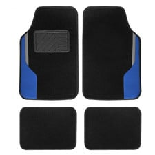 Color-Block Carpet Liners Non-Slip Car Floor Mats with Faux Leather Accents -Full Set