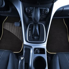 Color-Trimmed Liners Non-Slip Car Floor Mats with Rubber Heel Pad -Full Set