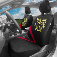 We Are Young/Life Is Fun Seat Covers in Red Stripe -Full Set
