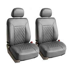 Deluxe Faux Leather Diamond Pattern Car Seat Cushions -Front Set