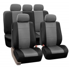 Premium PU Leather Seat Covers - Full Set PU002grayblack115 1