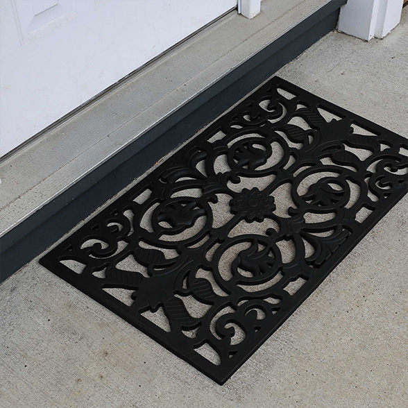 Flower Iron Stems Rubber Utility Doormat material
