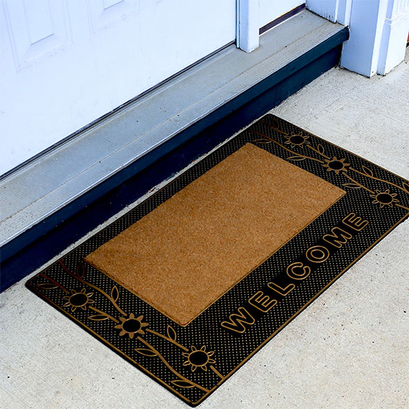 Golden Trim Welcome Rubber Utility Doormat material