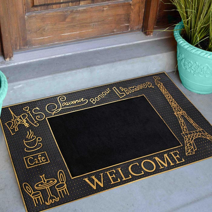 Golden Trim Eiffel Tower Rubber Utility Doormat material