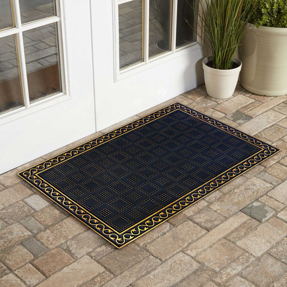 Wrought Iron Stems and Leaves Rubber Utility Doormat material