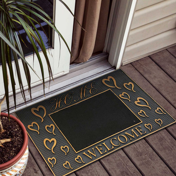 Home With Heart Welcome Rubber Utility Doormat material