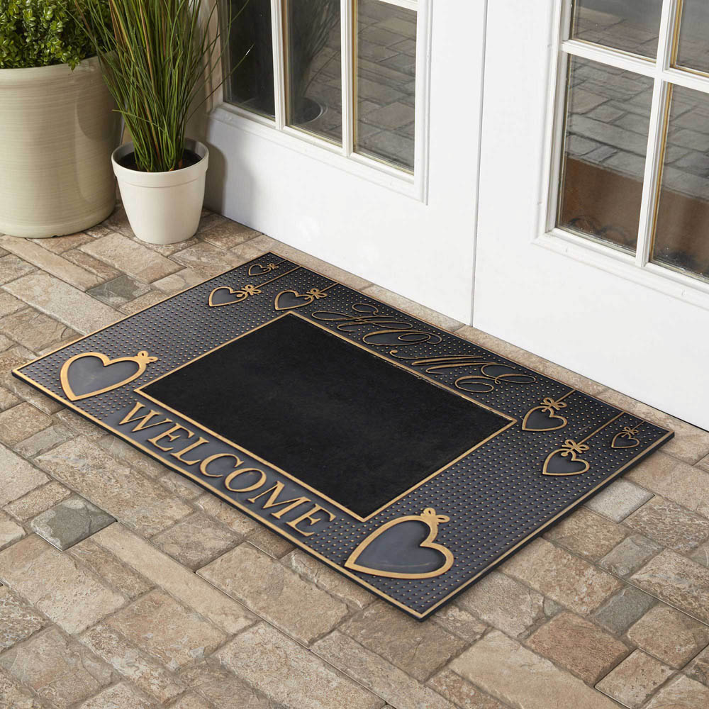Welcome Black with Carpet Floor Doormat material