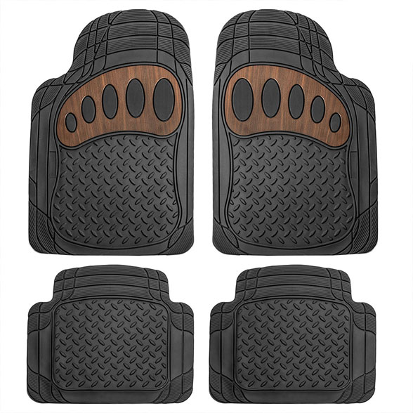 Trimmable Rubber Floor Mats With Wood Design