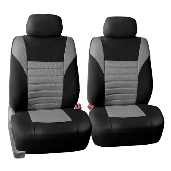 1 Grey Padded Race Panel Polyester Washable Front Seat Cover Pair Luxury 1