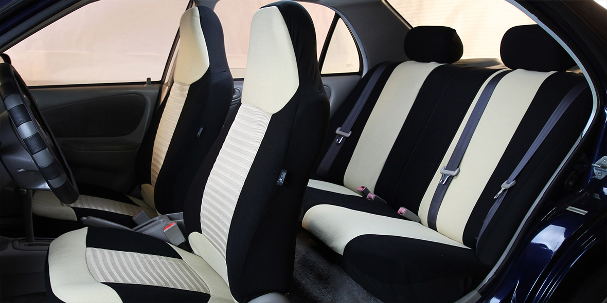 Premium Fabric 3 Row Seat Covers - Gray banner