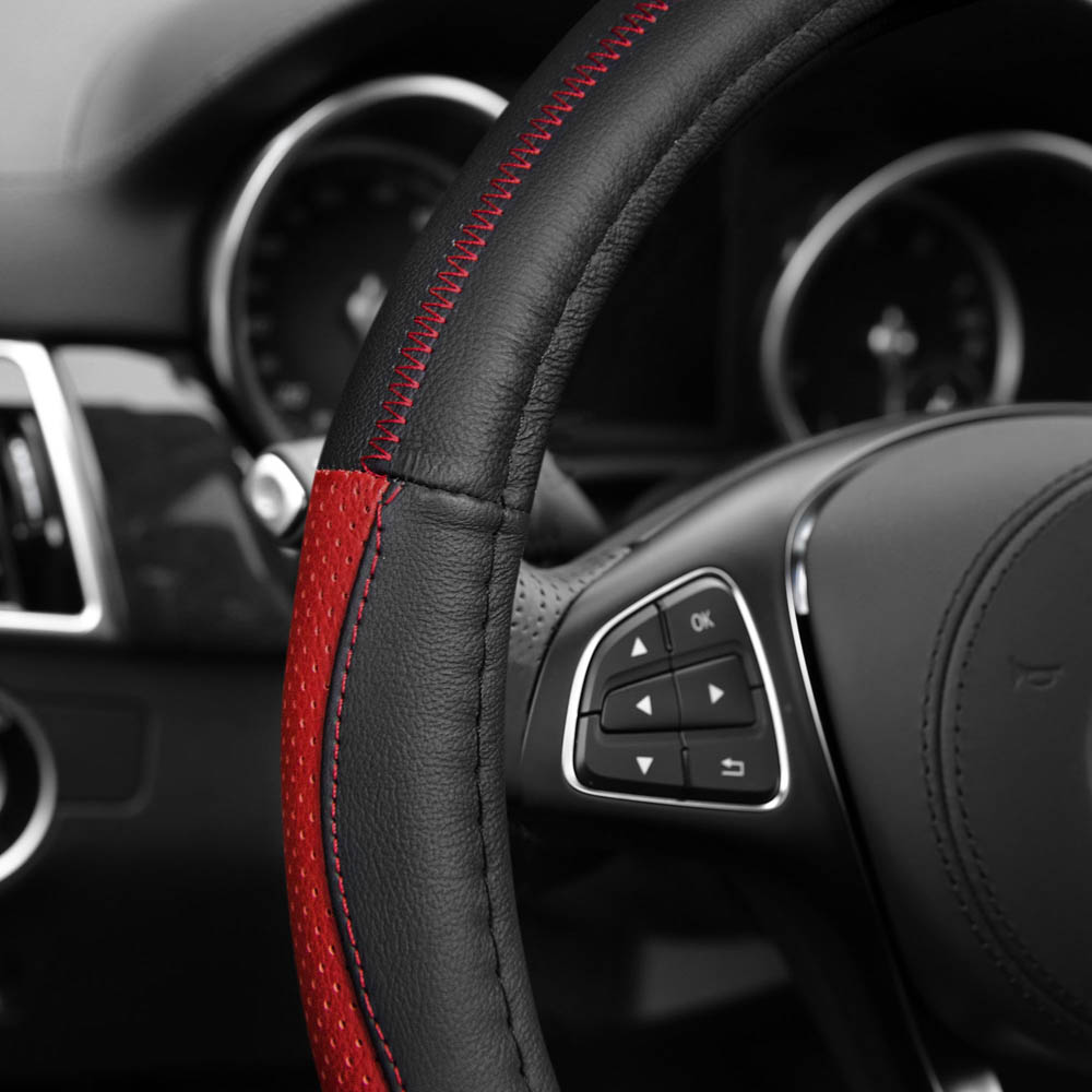 Sleek & Sporty Genuine Leather Steering Wheel Cover material