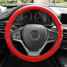 Silicone steering wheel cover with grip marks