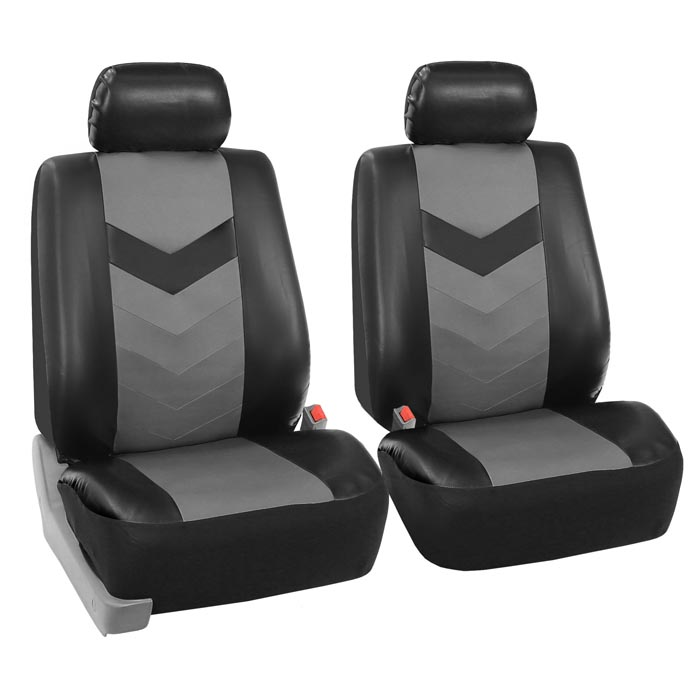 FH GROUP FH-PU002115 Classic PU Leather Car Seat Covers Solid Gray Airbag compatible and Split Bench Truck Suv Fit Most Car or Van