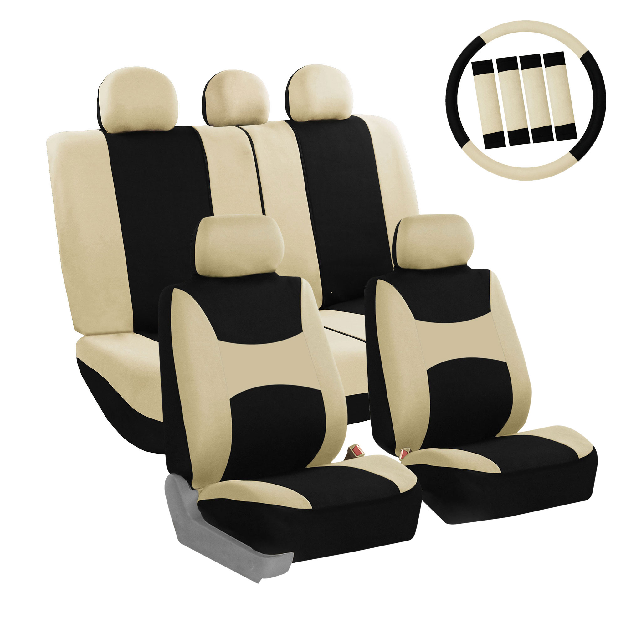 Rear Flat Cloth Seat Covers FH Group FB050012BLACK