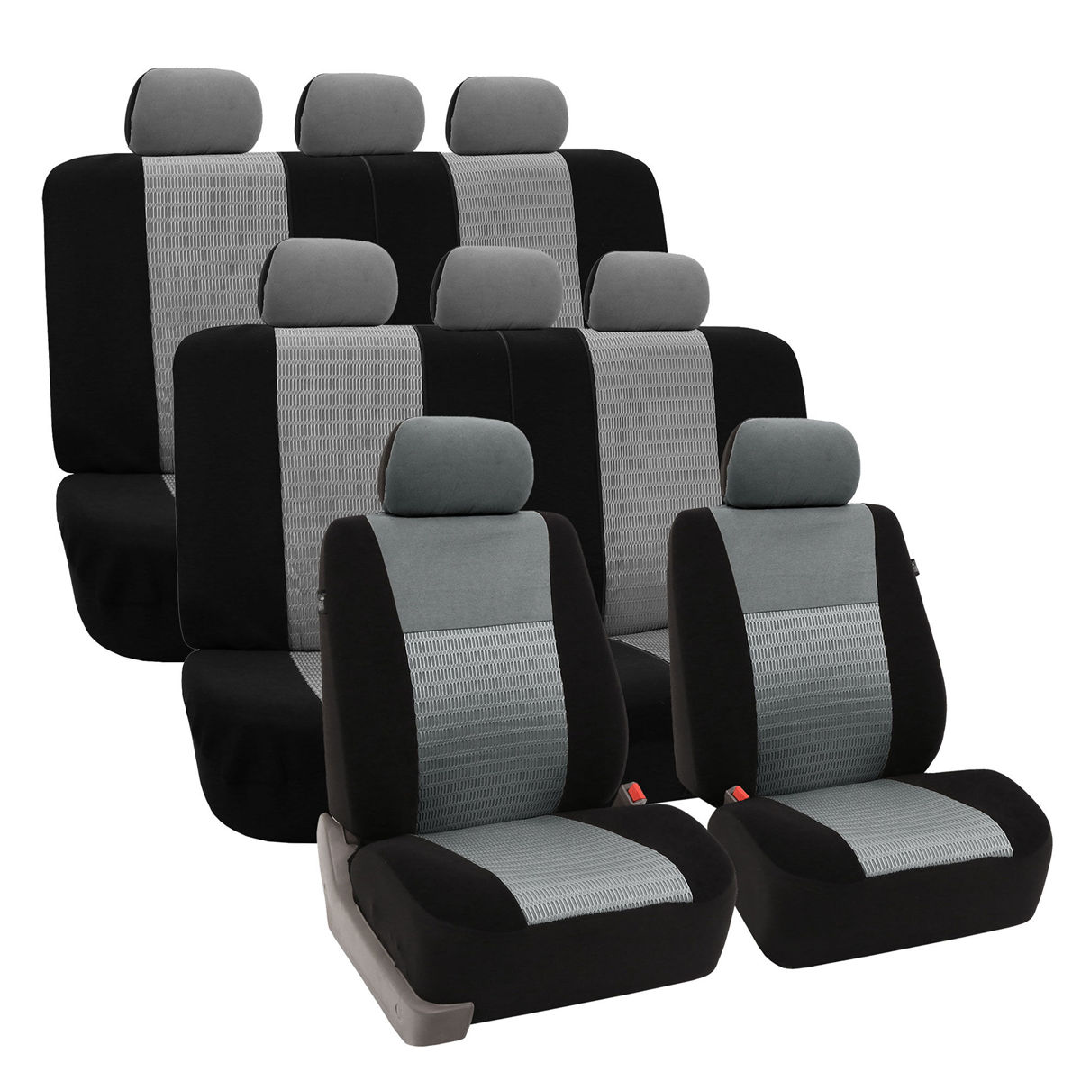 Deluxe 3D Air Mesh 3 Row Seat Covers - Gray 1