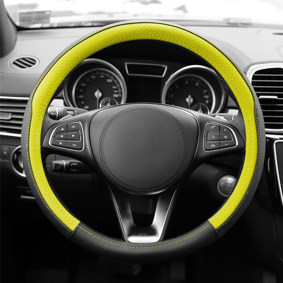 Geometric Chic Genuine Leather Steering Wheel Cover FH2009 Front View Yellow