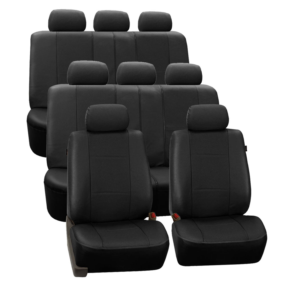 Deluxe Leatherette 3 Row Seat Covers - Black 1
