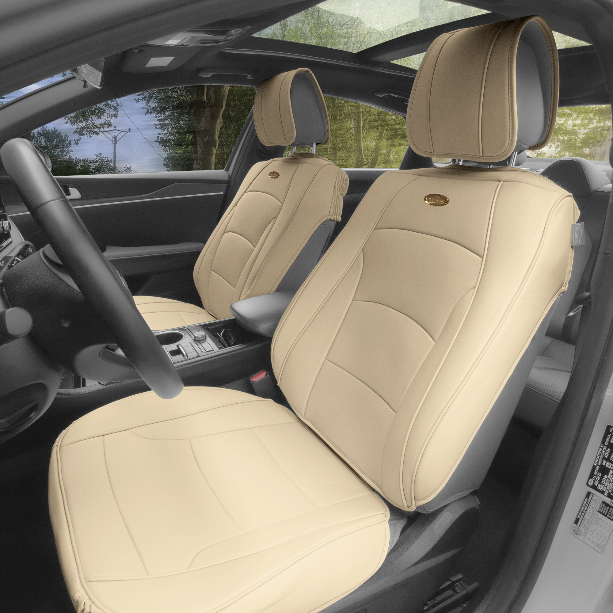 PU205 solid beige seat covers