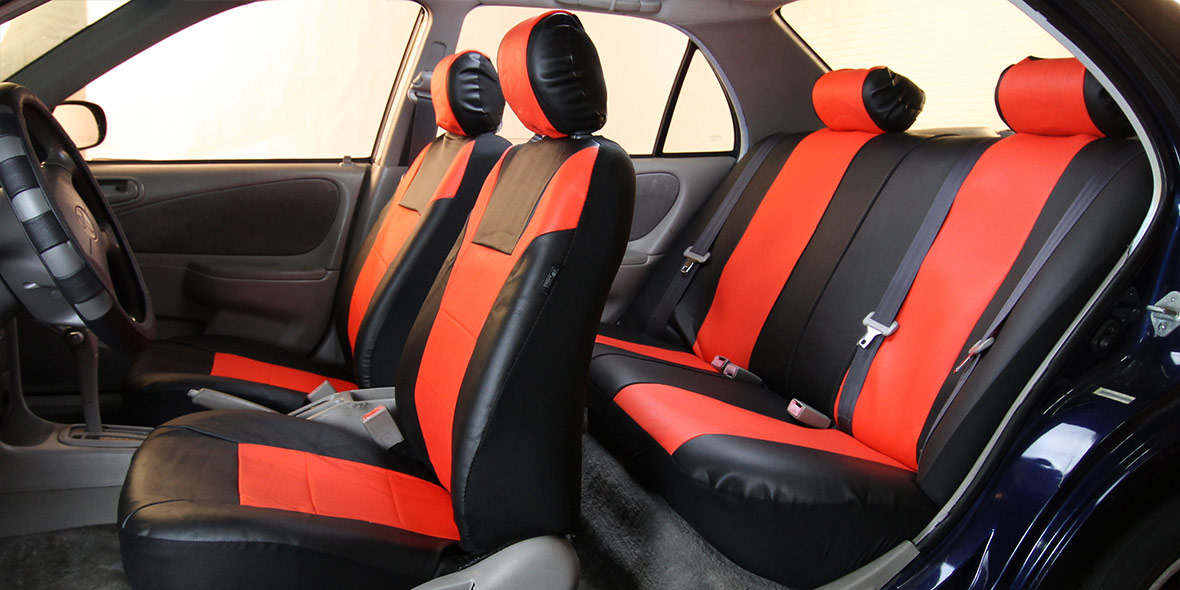 Racing PU Leather Seat Covers - Front banner