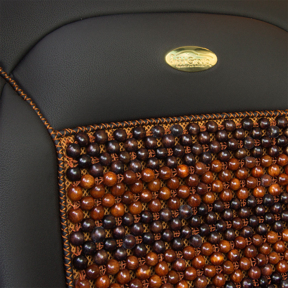 Premium Leather Seat Covers with cooling rosewood beads material