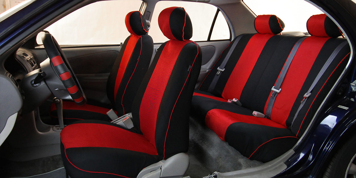Edgy Piping Seat Covers Full Set - Blue banner