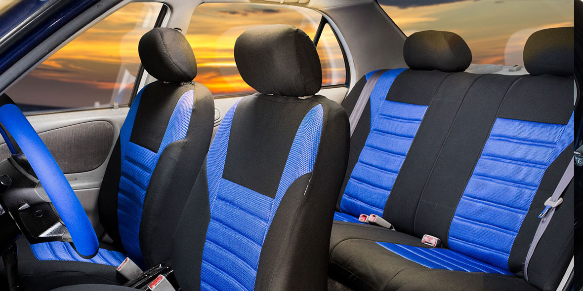Premium 3D Air Mesh Seat Covers Full Set - Red banner