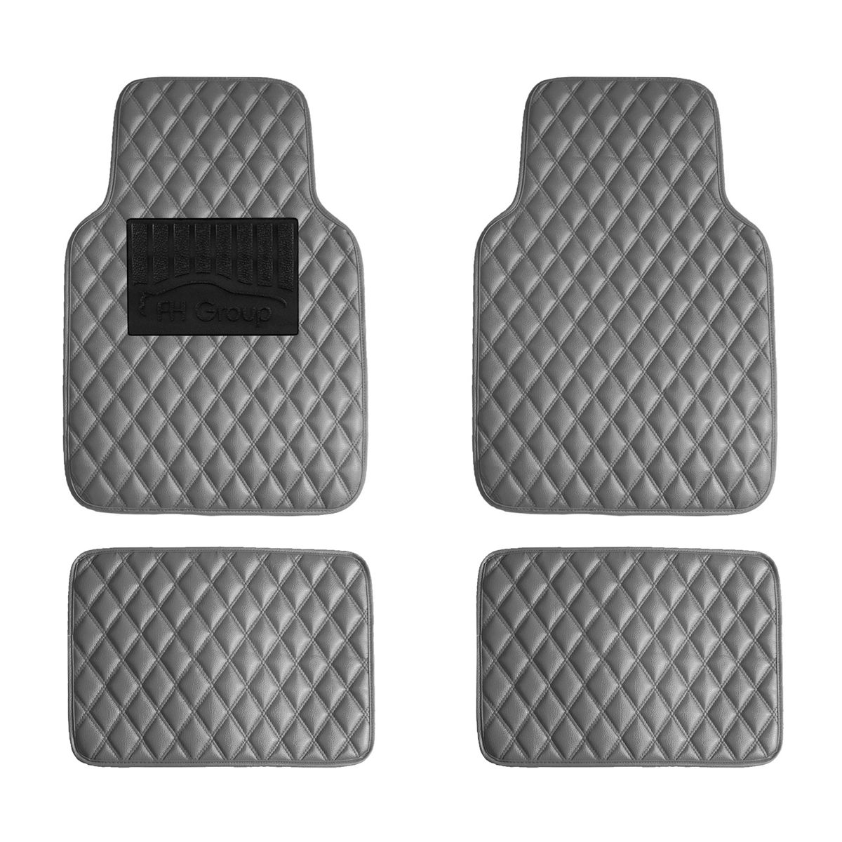 Luxury Universal All Seasons Heavy Duty Faux Leather Car Floor Mats Diamond Design - Gray F12002-Gray 01