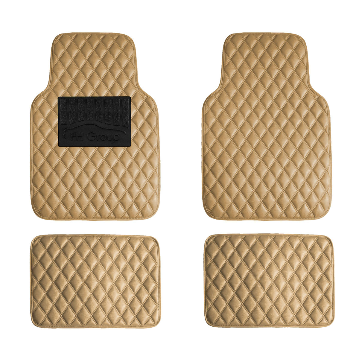 Luxury Universal All Seasons Heavy Duty Faux Leather Car Floor Mats Diamond Design - Beige F12002-Beige 01