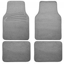 4 Piece Pilot Automotive FM-02T Tan Carpet Floor Mat with Rubber Heel Pad,