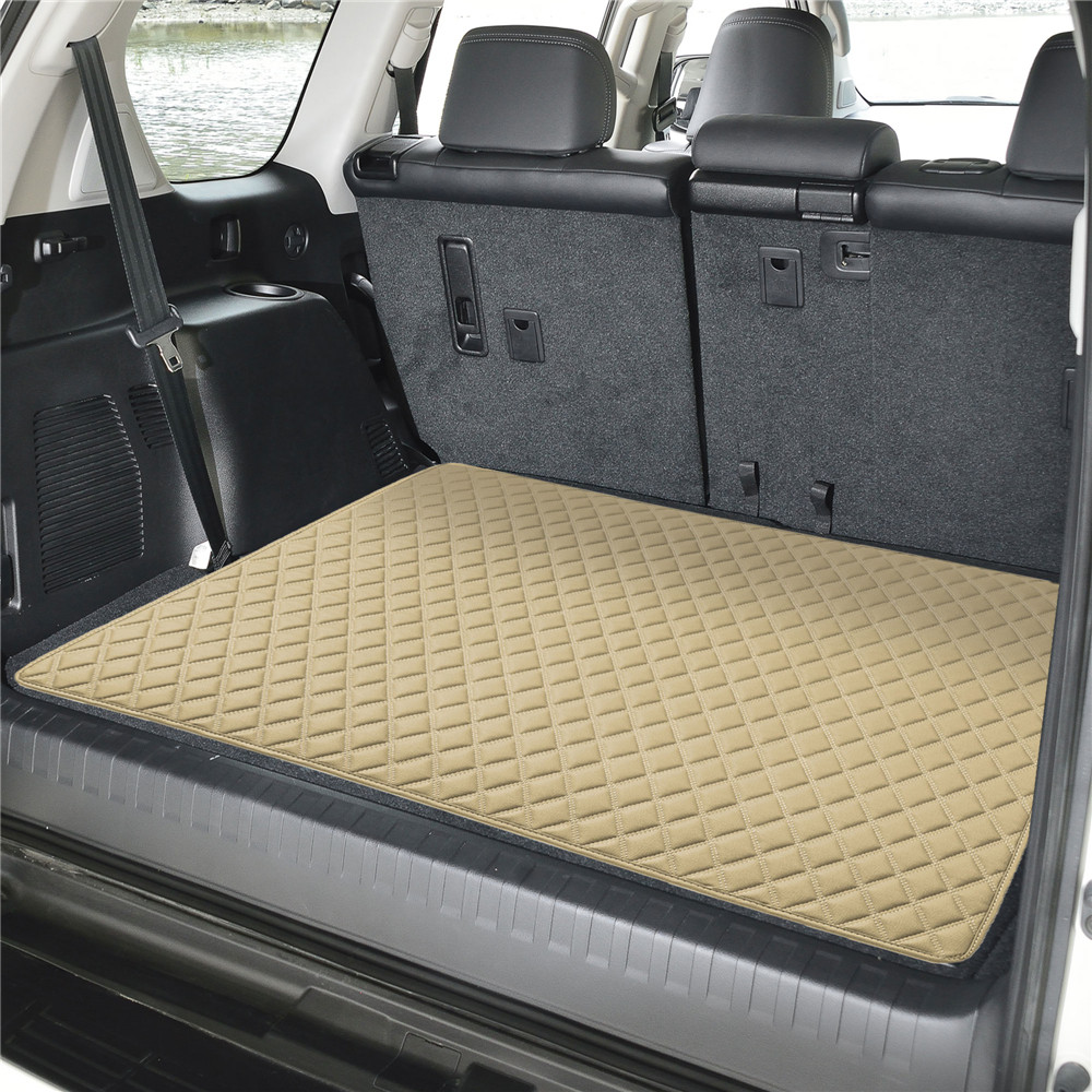 Deluxe Heavy-Duty Faux Leather Diamond Pattern Multi-Purpose Cargo Liner f16501beige32 04