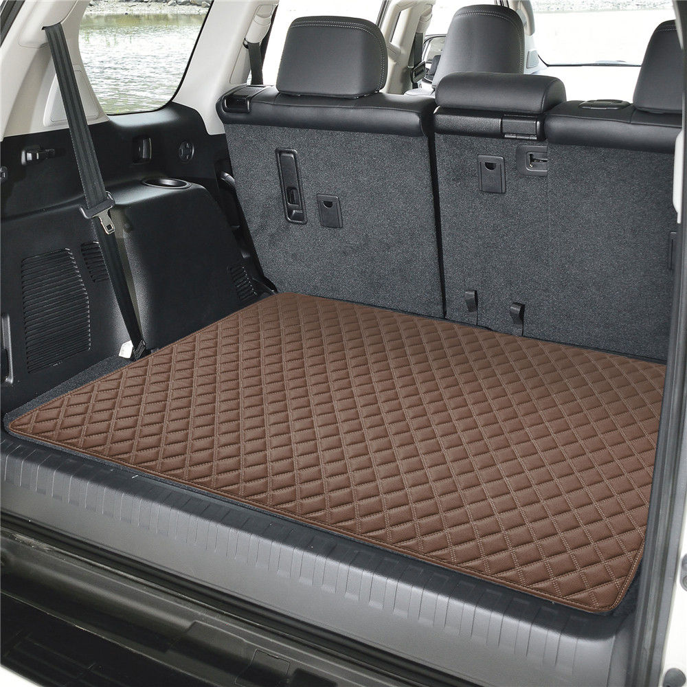 Deluxe Heavy-Duty Faux Leather Diamond Pattern Multi-Purpose Cargo Liner f16501brown32 04