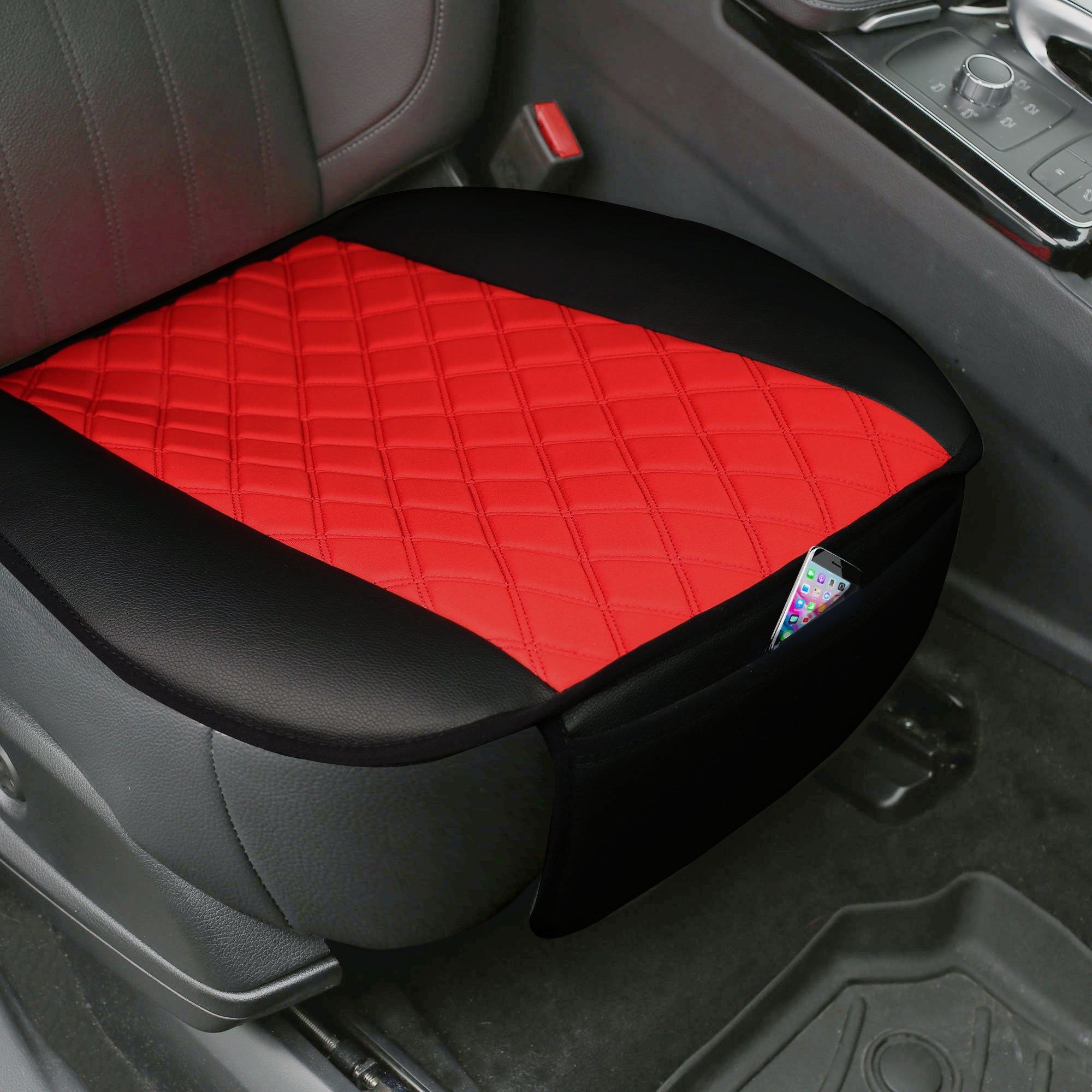 Faux Leather and NeoSupreme Seat Cushion Pad with Front Pocket - Black FB210102RED