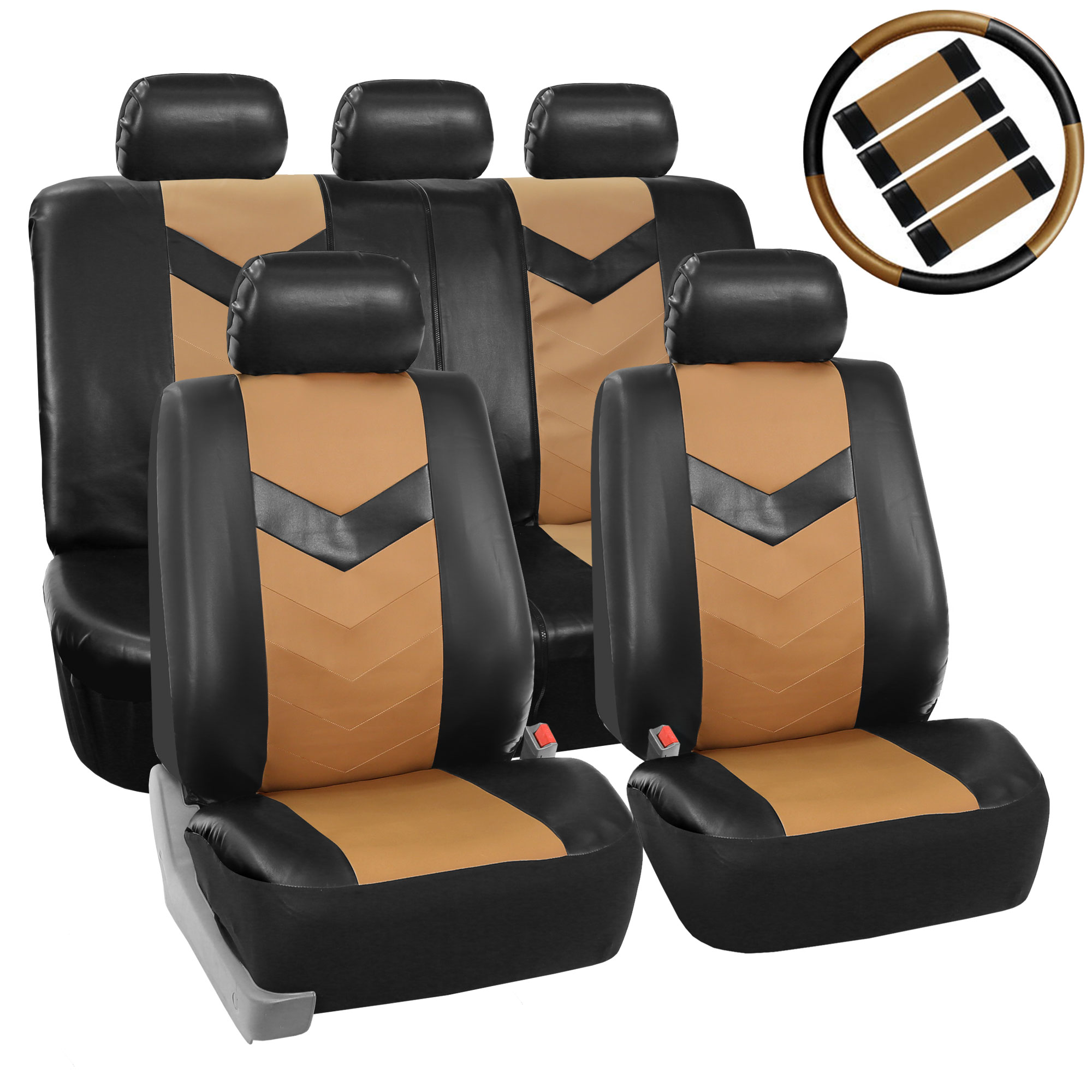 Faux Leather Seat Cover Full Set - Combo Set - Tan / Black PU021tanblack115COMBO2