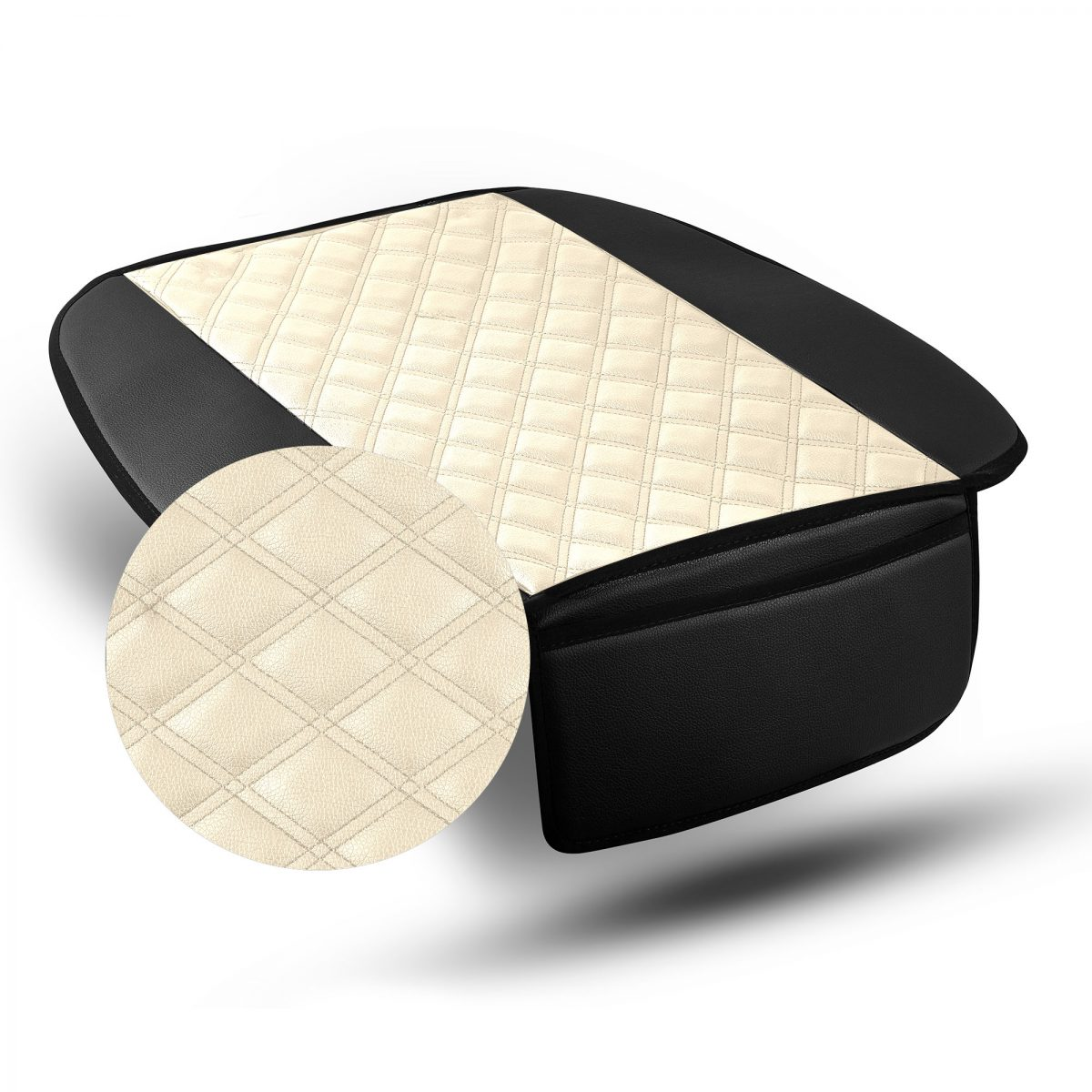 Faux Leather Seat Cushion Pad with Front Pocket material