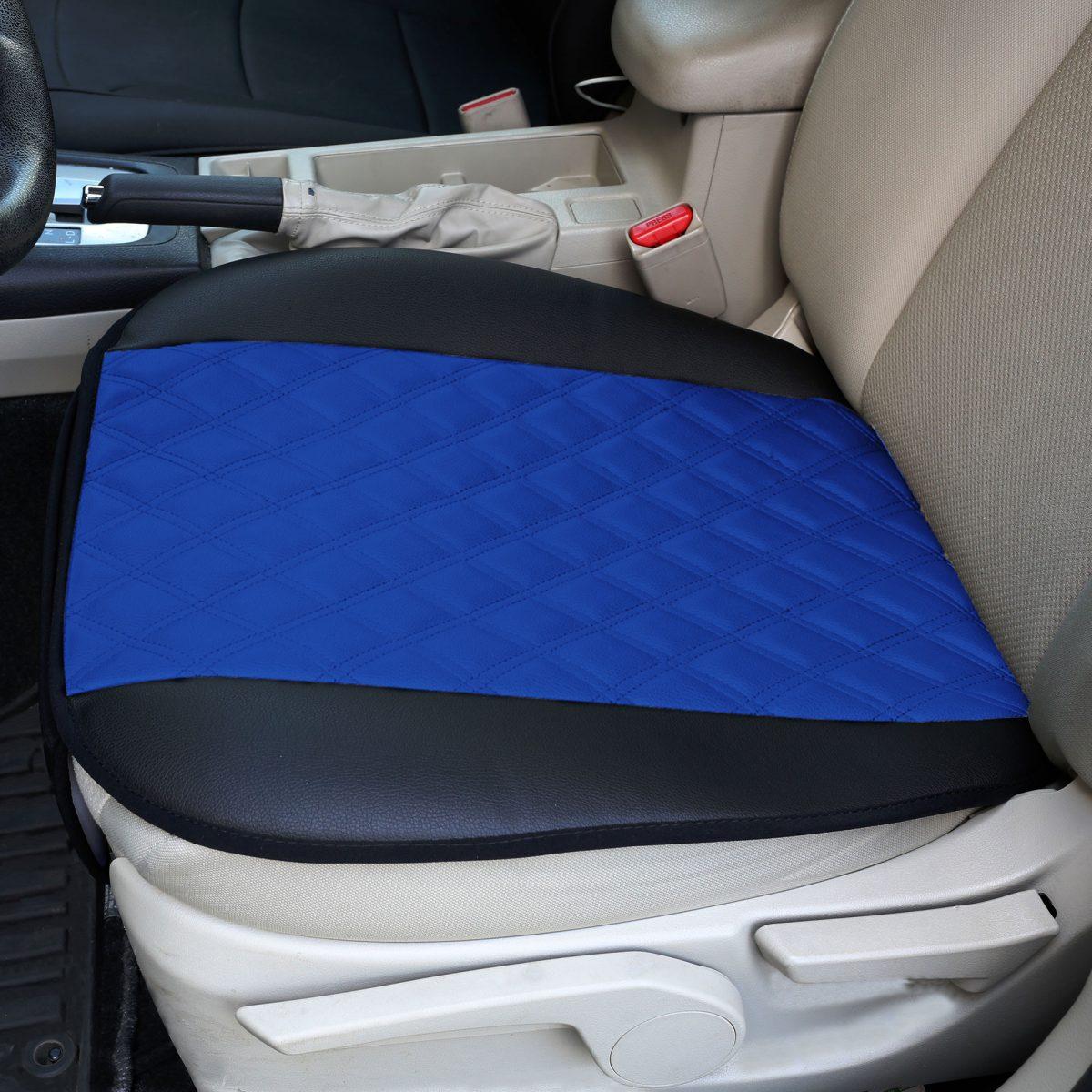 Faux Leather Seat Cushion Pad w/ Front Pocket – Front Set blue color