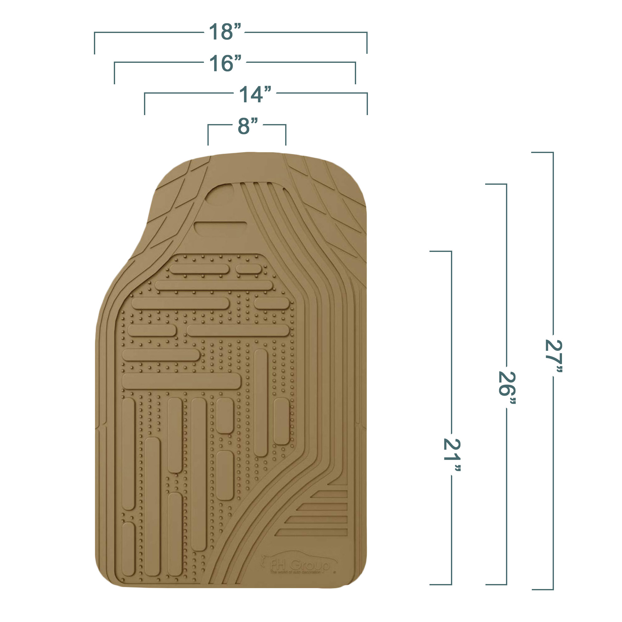 Which Type Of Floor Mats Do You Need? F11322BEIGE FRONT measurements