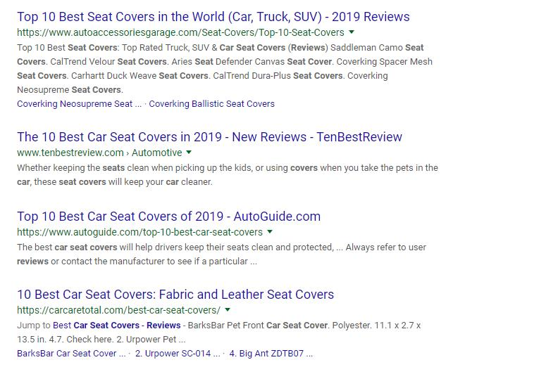 top 10 seat covers 2019 in google search result