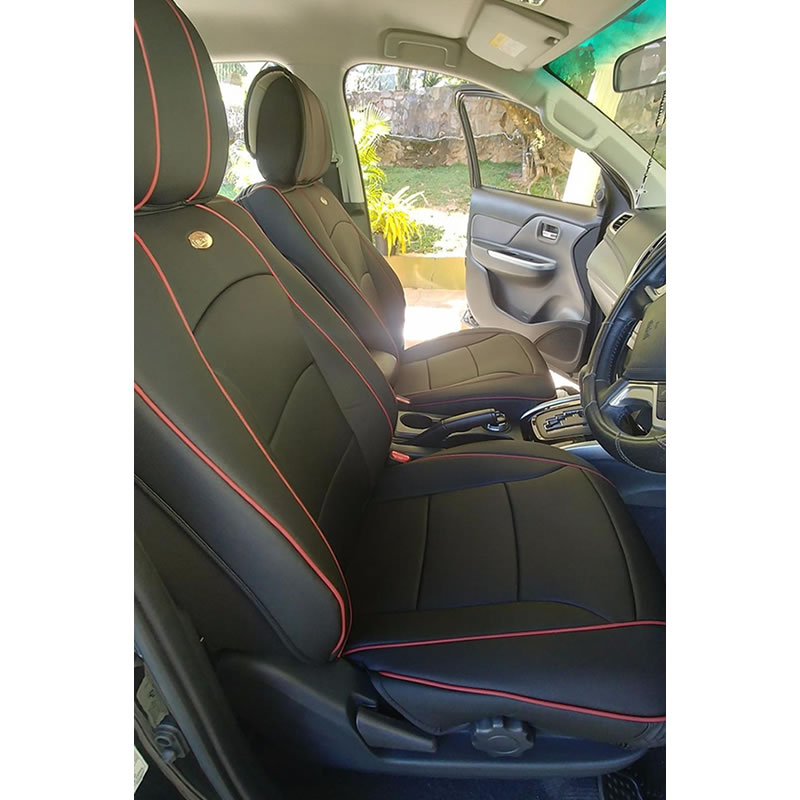 Car seat covers fit Mitsubishi L200 black//red  leatherette full set