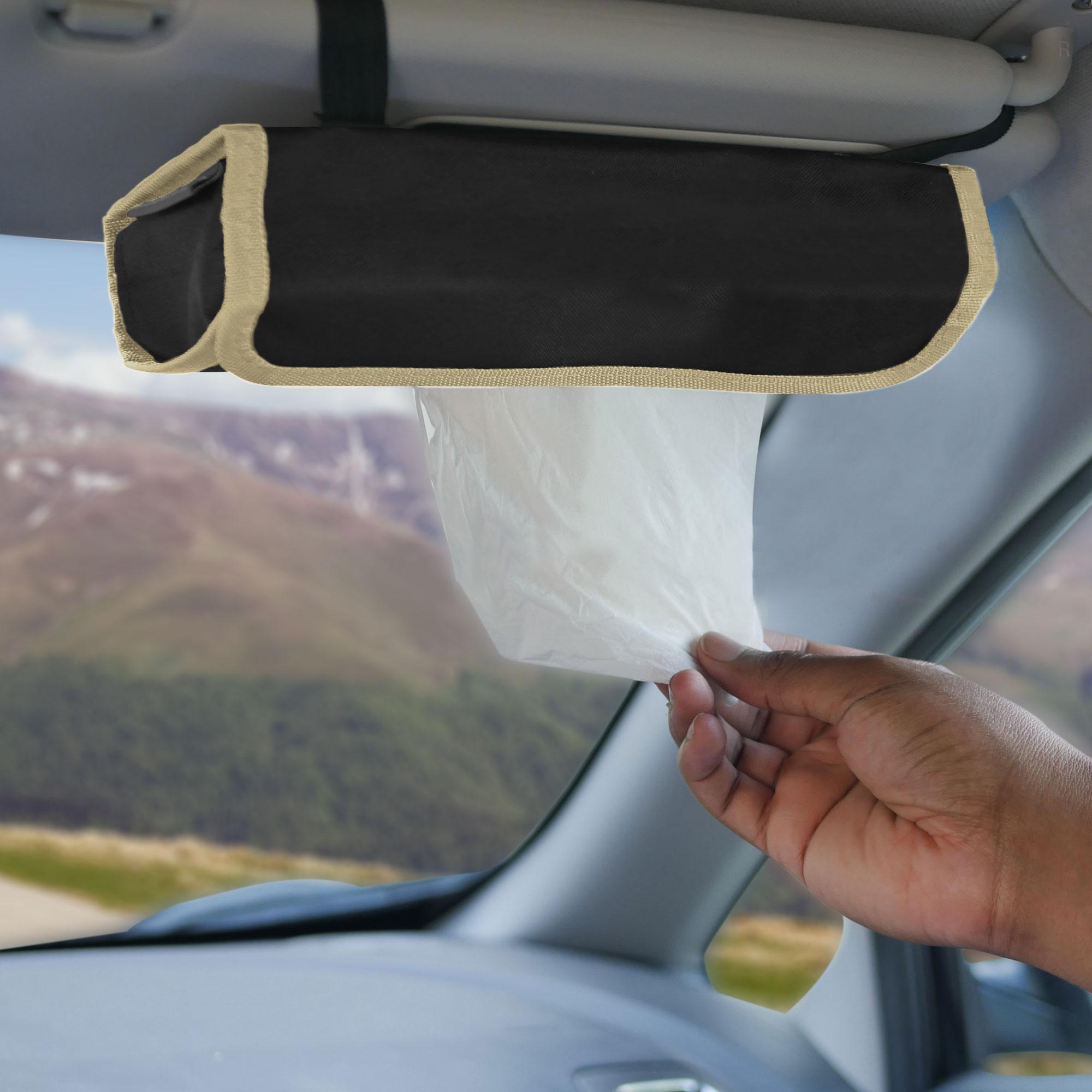 fh1136 beige black car organizer tissue dispenser