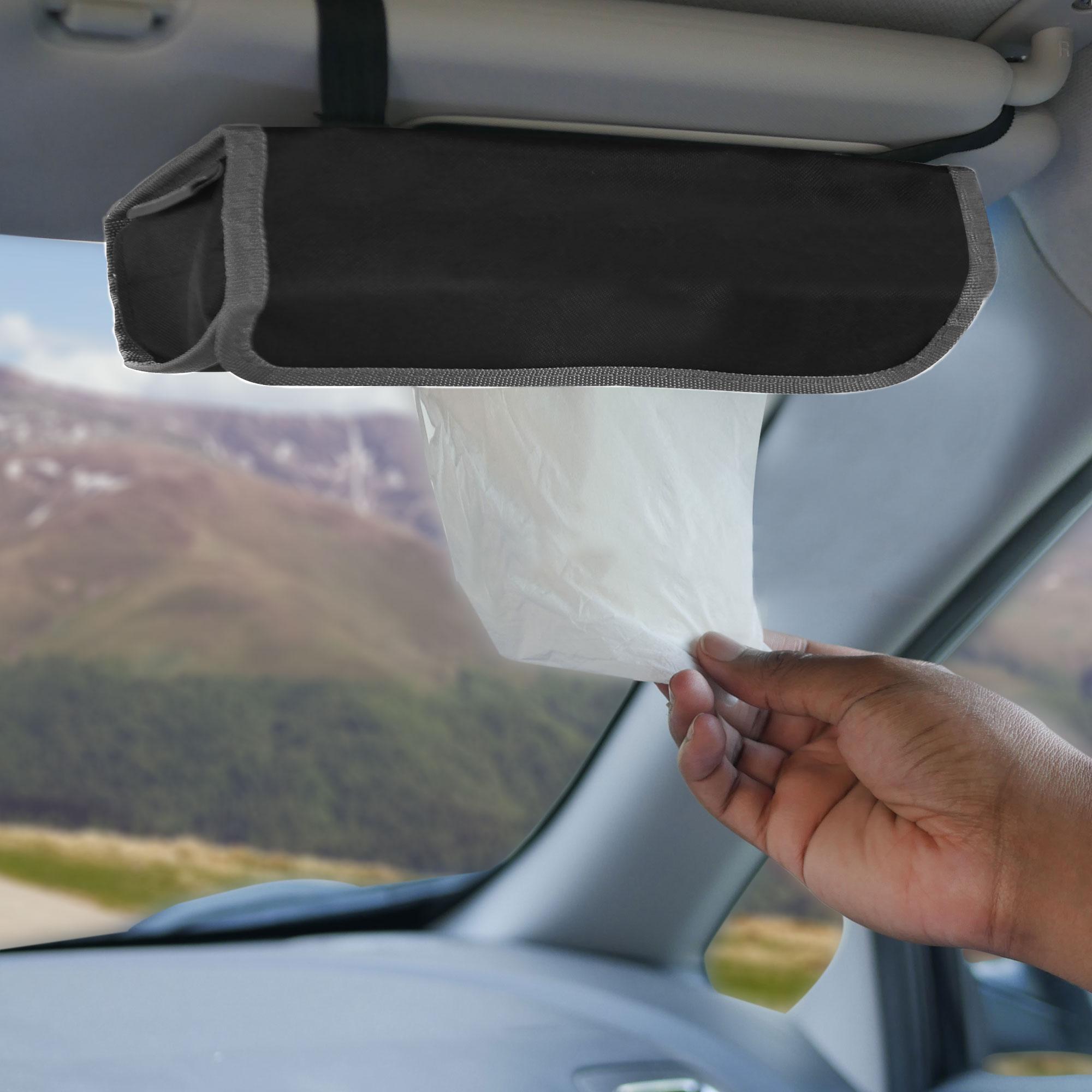 fh1136 grey black car organizer tissue dispenser