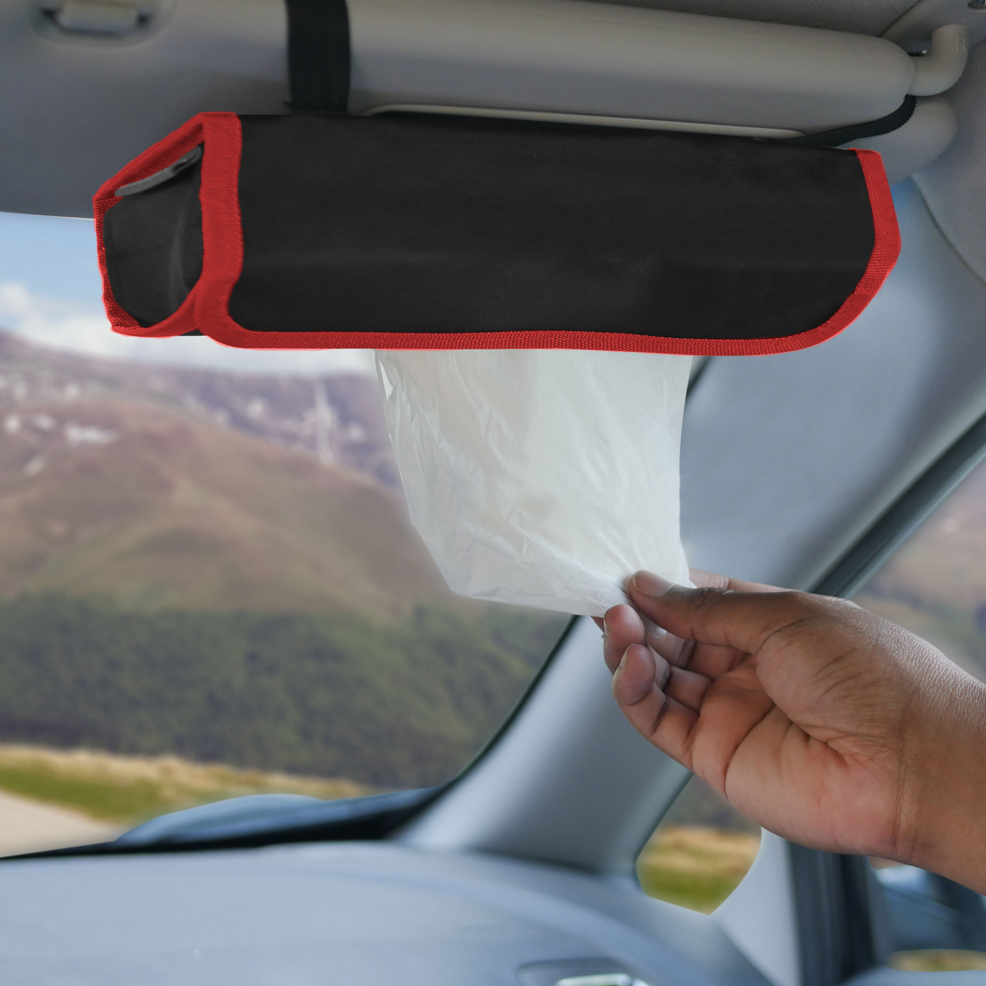 fh1136 red black car organizer tissue dispenser