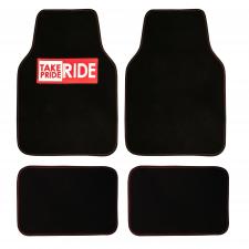 TF10001 black red floor mats full set