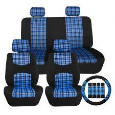 fb057 tartan plaid blue seat covers