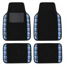 f14411 tartan blue floormats full set